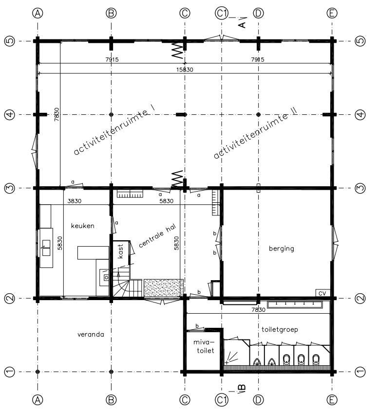 Plattegrond ruimte 1 en 2
